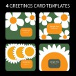 4 Greeting Cards: Sunflower — Stockvectorbeeld