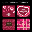 4 Greeting Cards: Valentines Day — Stock Vector #8021649