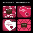 4 Greeting Cards: Valentines Day — Imagen vectorial