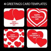 バレンタインデーのための 4 つのベクトル パターンのセット — ストックベクタ