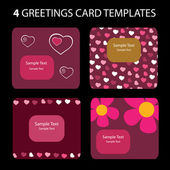 4 Greeting Cards: Valentines Day — Stock vektor