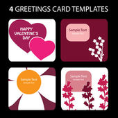 4 Greeting Cards: Valentines Day — ストックベクタ