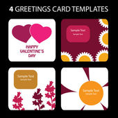 4 Greeting Cards: Valentines Day — Vector de stock