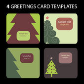 4 Christmas Greeting Cards — Stock Vector