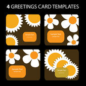 4 Greeting Cards: Sunflower — Vector de stock