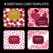 4 Greeting Cards: Valentines Day — Vecteur