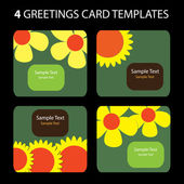 4 Greeting Cards: Flowers — Vector de stock