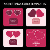 4 Greeting Cards: Valentines Day — Stockvektor