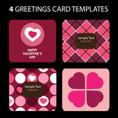 4 Grußkarten: Valentinstag — Stockvektor