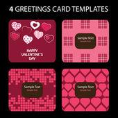 4 wenskaarten: de dag van Valentijnskaarten — Stockvector