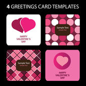4 Greeting Cards: Valentines Day — Vetor de Stock