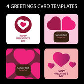4 Greeting Cards: Valentines Day — 图库矢量图片