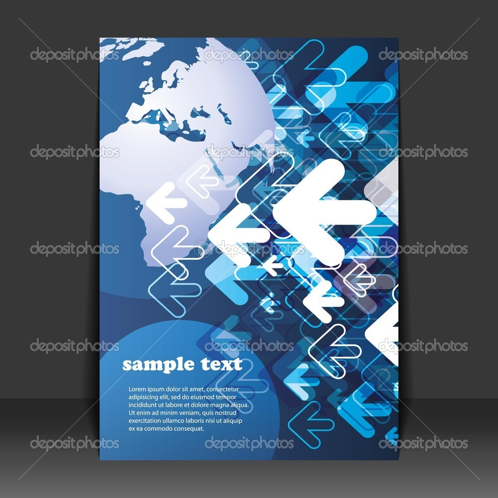flyer design business stock vector © bagotaj 8020829 abstract blue business or global technology flyer or cover design earth globe and moving arrows in editable vector format vector by bagotaj