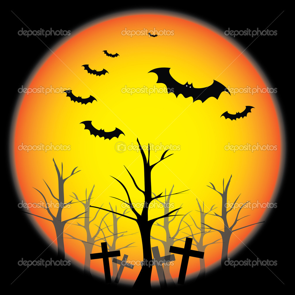 Dark Helloween background design with bats - vector illustration — Stock Vector #8021935