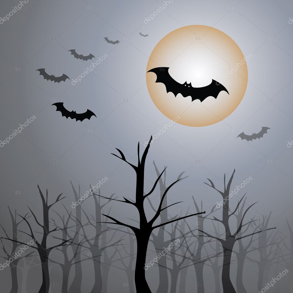 Dark Helloween background design with bats - vector illustration — Stock Vector #8021941