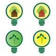Royalty-Free Stock Vector Image: Renewable green energy: 4 Light Bulbs