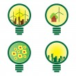 4 Light Bulbs - environmental illustration vector - Stock Vector