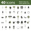 40 icons: flowers, trees, eco, nature, garden, misc — Imagen vectorial