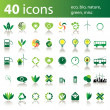 40 icons: eco, bio, nature, green, misc — Stock Vector