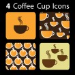Stock Vector: 4 Coffee Cup Icons