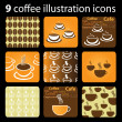 9 Coffee Cup Icons — Stock Vector