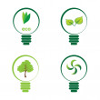 Stock Vector: Renewable green energy: 4 Light Bulbs