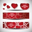 Vector set of three Valentines Day header designs — Stock Vector