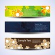 Vector set of three banner designs with flowers — Stock Vector