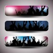 Colorful party banner set - vector illustration — Stock Vector