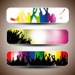 Colorful party banner set — Stock Vector