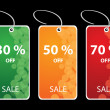 Vector illustration of discount sale tags — Vettoriali Stock