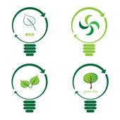Renewable green energy: 4 Light Bulbs — Stock Vector