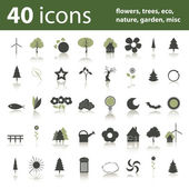 40 icons: flowers, trees, eco, nature, garden, misc — Stock Vector