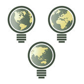 World map in light bulbs — Stock Vector