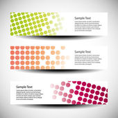 Colorful vector set of three header designs — Stock Vector