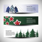 Drie abstract Kerstmis koptekst ontwerpen — Stockvector