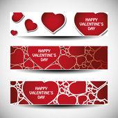 Vector set of three Valentines Day header designs — Vettoriale Stock