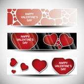 Vector set of three Valentines Day header designs — ストックベクタ