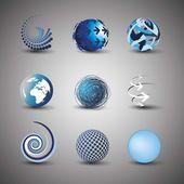 Raccolta di disegni del globo — Vettoriale Stock