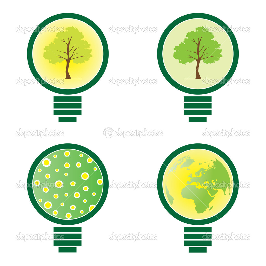 Abstract  Eco Bulb Vector lllustrations in Freely Scalable and Editable Vector Format — Stock Vector #8038343
