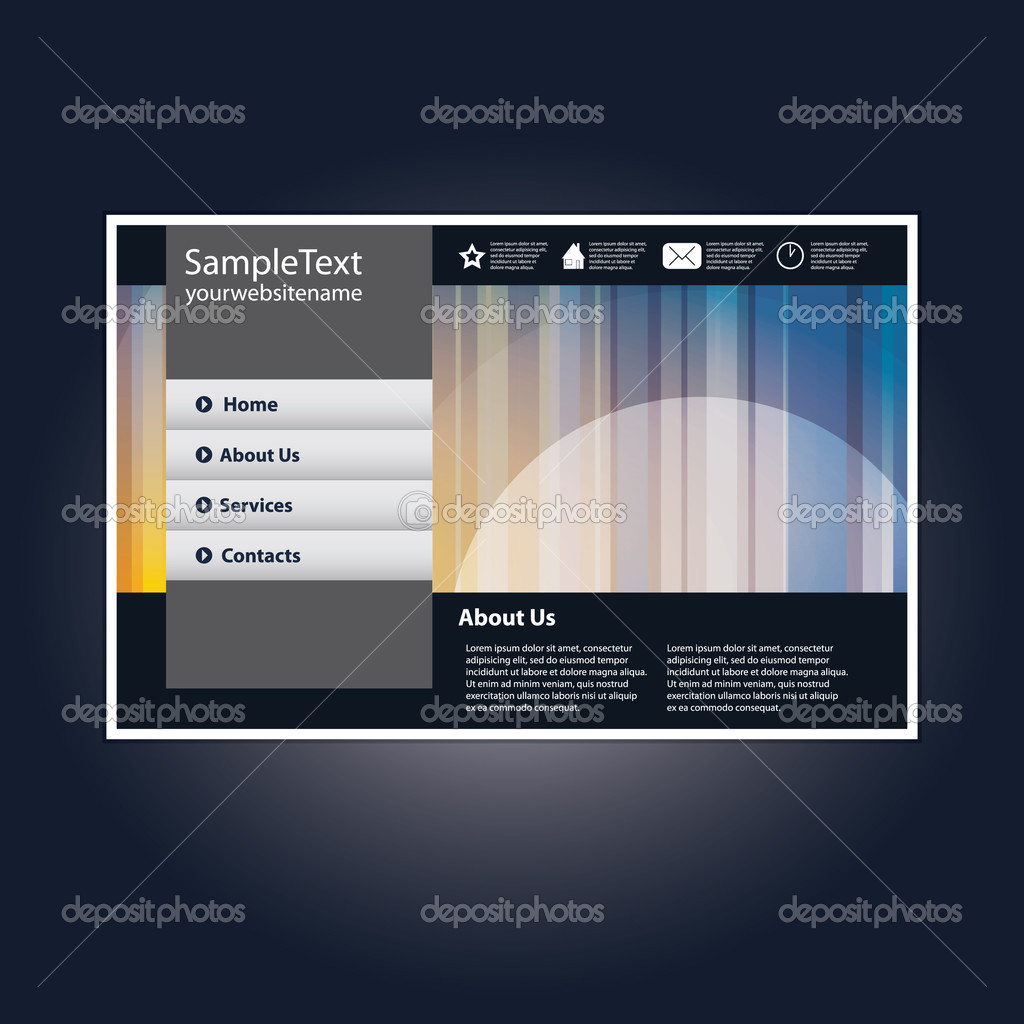 Colorful Abstract Website Design Template in Freely Scalable and Editable Vector Format  Stock Vector #8038775