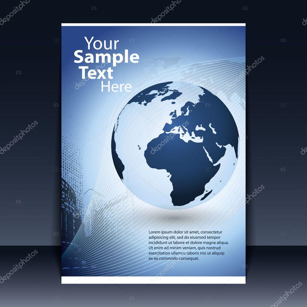 与地球地球世界地图和城市景观背景上的蓝色业务传单矢量设计 — 矢量