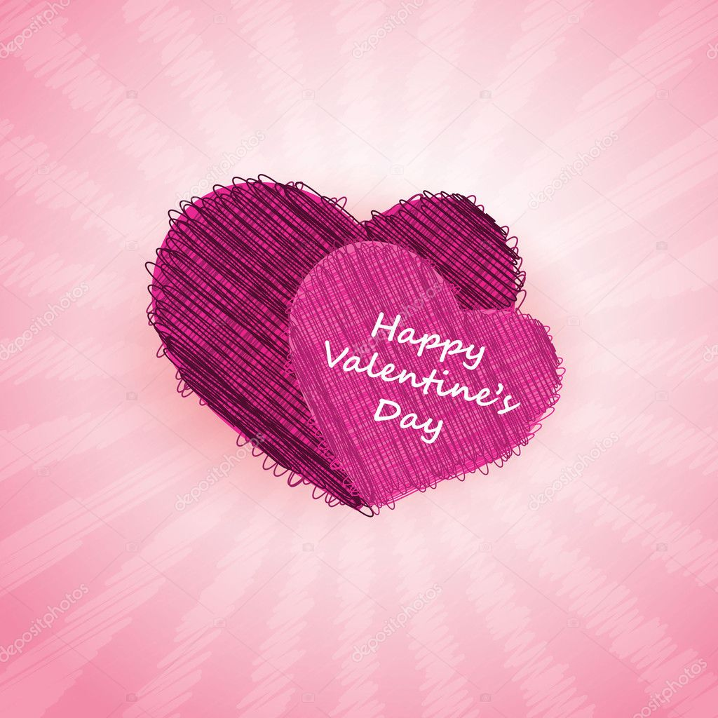 Two purple hearts in pink background - Valentines Day card vector design — Stock Vector #8504560