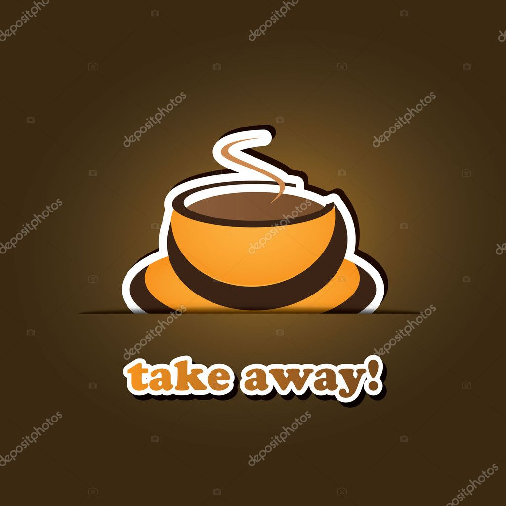 Take Away! - Orange Coffee Cup Icon, Vector Design  Stock Vector #8504919