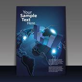 Business never sleeps - digital globe flyer or cover design — Stock Vector