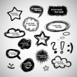 Stock Vector: Collection of Hand Drawn Speech And Thought Bubbles - Vector Background