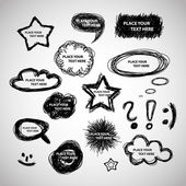 Collection of Hand Drawn Speech And Thought Bubbles - Vector Background — Stock Vector