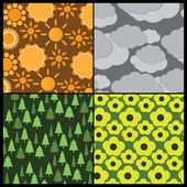 4 Colorful Abstract Backgrounds - Weather and Seasons — Stockvektor