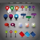 Iconos de página web elementos y gps — Vector de stock