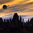 City and planet - Stock Photo